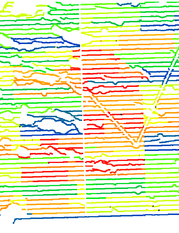 fig. 3a - Colour coded shot times from a simultaneous source survey.  Interfering shots share a similar colour.