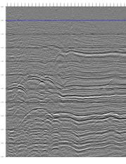 fig. 3a - Input stack with high frequency noise overlaying many diffractions